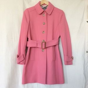 J crew double cloth wool pink trench coat 10P